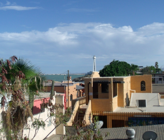 View of the lighthouse from roof patio
