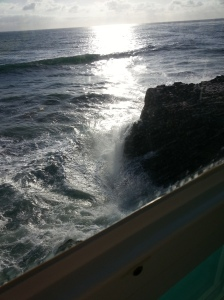 Looking at the waves below the Splash Restaurant
